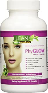 Lean Nutraceuticals Phytoceramides 350mg Capsules Phyglow Gluten-Free All Natural Plant Derived Skin Restoring Wrinkle Reducing Dermatologist Recommended Ceramides Supplement 30 Caps