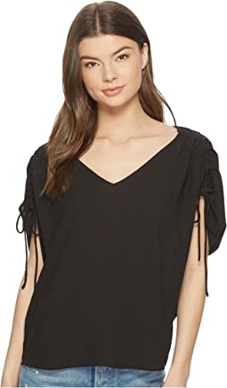 1.STATE - Cinched Sleeve V-Neck Blouse