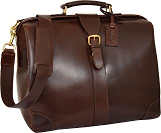 Real Leather Doctors Bag Cross Body Briefcase Organiser Case Cortex Brown