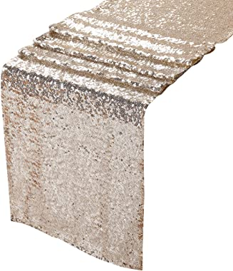 Peomeise 6PCS 12x108 Inch Sequin Table Runner for Party Event Decorations