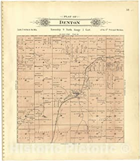 Historic 1903 Map - Plat Book of Lancaster County, Nebraska : containing Carefully Prepared Township plats, Village plats, Analysis of U.S. Land System - Plat of Denton 38in x 44in