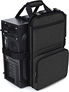 Trunab Gaming PC Tower Carrying Strap with Handle, Desktop Computer Case Belt Holder with Pockets for Keyboard, Cable, Hea...