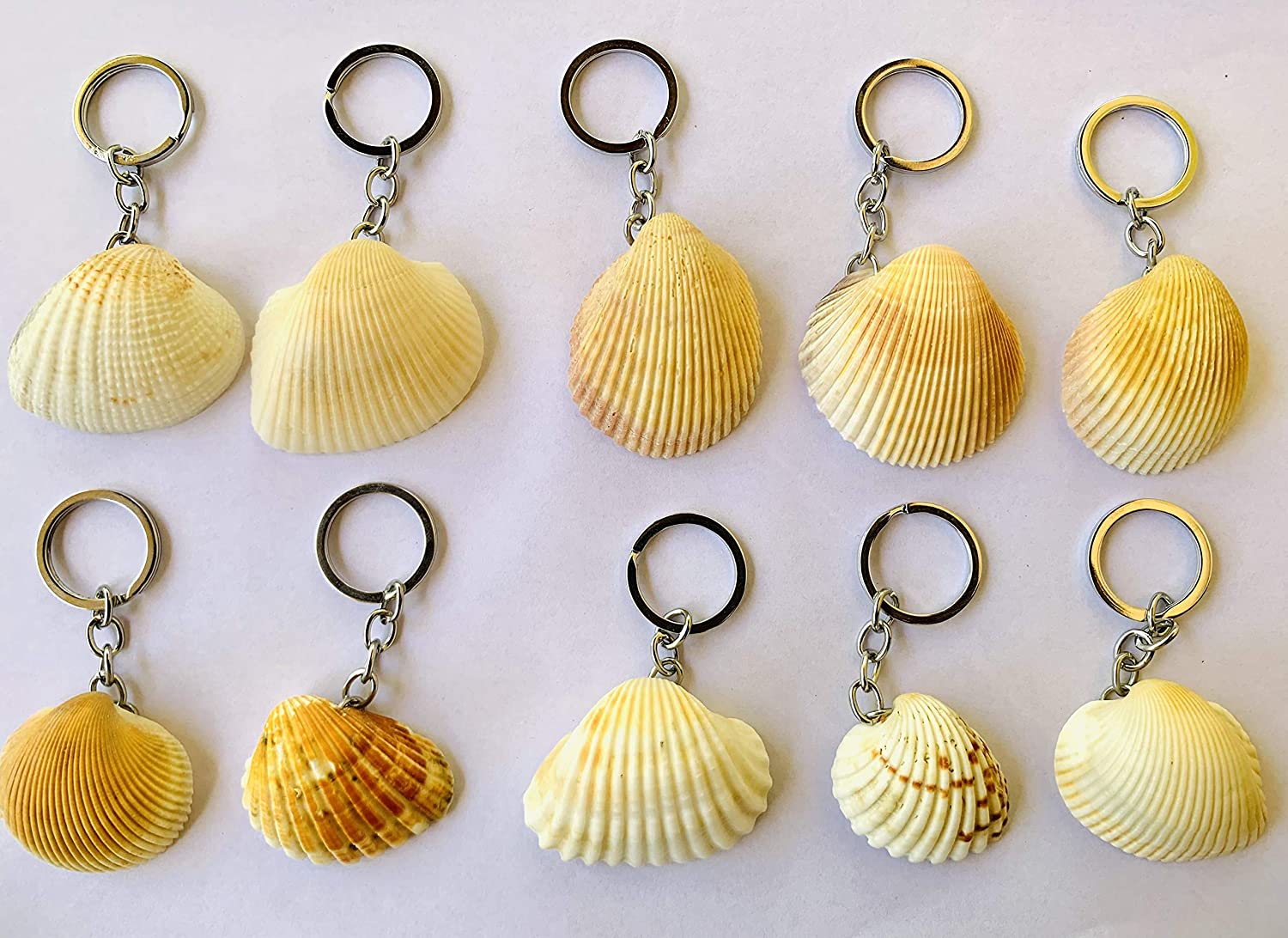 2 in 1 pack Natural Seashell Keychains, Key tags, keyrings, Beautiful gift for kids best wishes for love