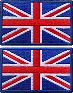 Ebateck England British Union Jack Flag Patch, 2x3 inch, UK Great Britain Iron On Patches, Red Blue White Color 2 Pack