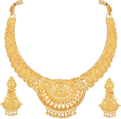 Latest Choker Design Necklace Set for Women Traditional One Gram Gold Plated Jewellery Set for Women Golden 11534s