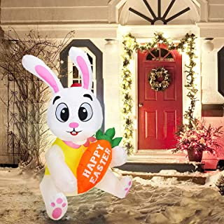 N / C Easter Inflatable Standing Bunny Rabbit Model Glowing Holiday Decoration Outdoor Indoor Holiday Decorations Yard Law...