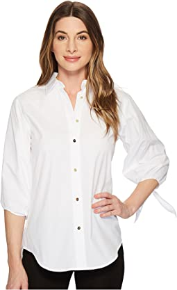 LAUREN Ralph Lauren - Cotton Tie-Sleeve Shirt