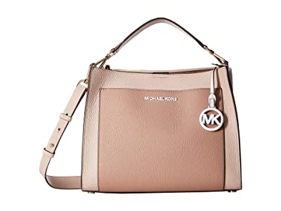 MICHAEL Michael Kors Gemma Medium Pocket Top-Handle Satchel (Soft Pink/Fawn) Satchel Handbags