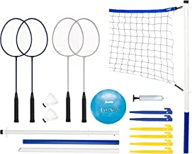 Franklin Sports Volleyball and Badminton Set - Volleyball, Pump, Badminton Rackets, Birdies, Net, and Adjustable Polls - B...