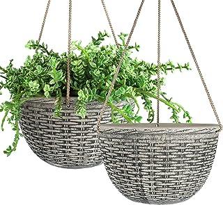 LA JOLIE MUSE Hanging Planters Indoor, 9.8 Inch Hanging Pots for Plants Indoor, Stone Color, Weave Pattern, Set of 2