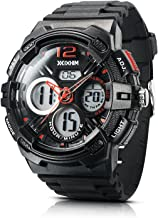 Men's Sport Watch Chronograph #A2000-KR by IXHIM – Multifunctional, Dual Digital & Analog Time Display Casual Outdoor Watch - Red Accents - 100m 330 ft Water Resistant