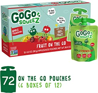 GoGo squeeZ Applesauce on the Go, Apple Strawberry, 3.2 Ounce (72 Pouches), Gluten Free, Vegan Friendly, Healthy Snacks, Unsweetened Applesauce, Recloseable, BPA Free Pouches