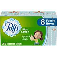8-Count Puffs Plus Lotion Facial Tissues Family Boxes, 120 Tissues per Box (960 Tissues Total)