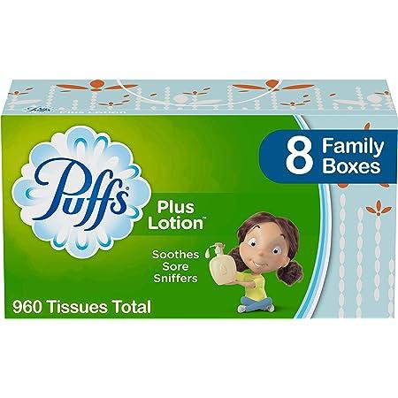 Puffs Plus Lotion Facial Tissues, 8 Family Boxes, 120 Tissues per Box (960 Tissues Total)