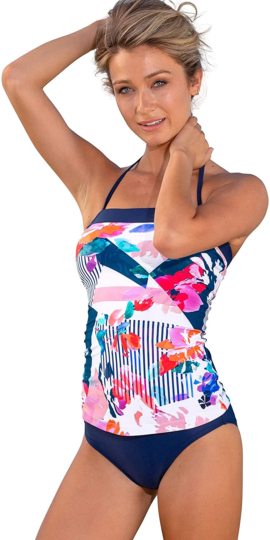 HAPARI Bandeau Tankini Top for Women – Convertible Straps - Halter or Strapless