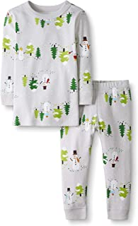 Moon and Back by Hanna Andersson Big Kids 2 Piece Long Sleeve Pajama Set, Snowman Print, 12