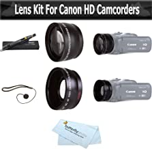 Wide Angle AND Telephoto Lens Kit For CANON VIXIA HF R82, HF R80, HF R800, HF R700, HF R72, HF R70 Camcorder Includes .43x Wide Angle Lens + 2.2x Telephoto Lens + Lens Pen Kit + Much More