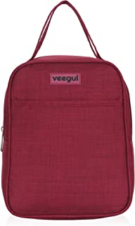 Veegul Compact Recycle Cooler Insulated Lunch bag for Women Men Kids Burgundy