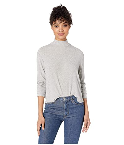 Splendid 2x1 Rib Eastsider Mock Neck Tee (Heather Grey) Women