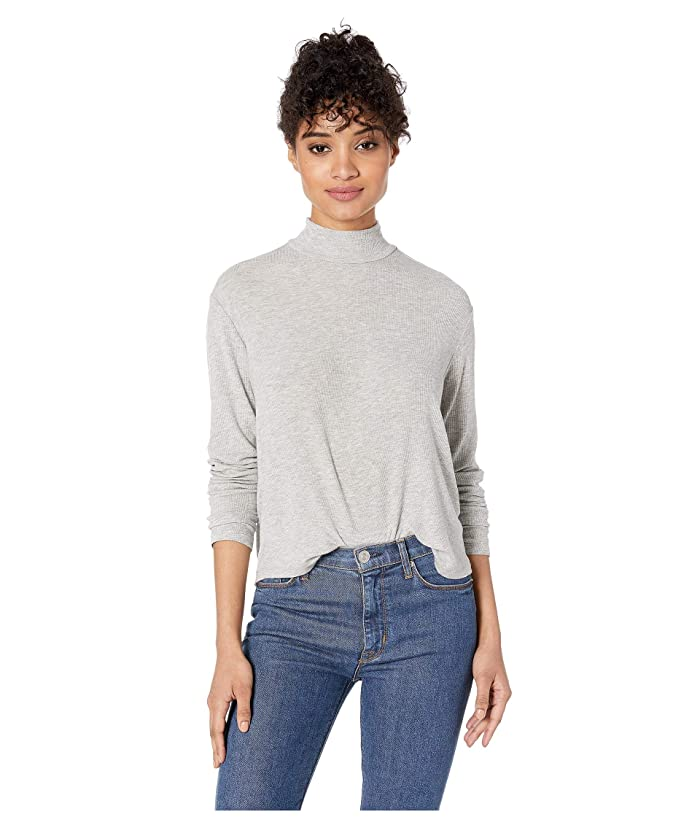 Splendid  2x1 Rib Eastsider Mock Neck Tee (Heather Grey) Womens Clothing
