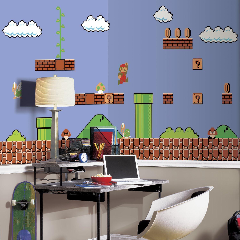 RoomMates Super Mario Retro Prepasted, Removable Wall Mural - 6' X 10.5'