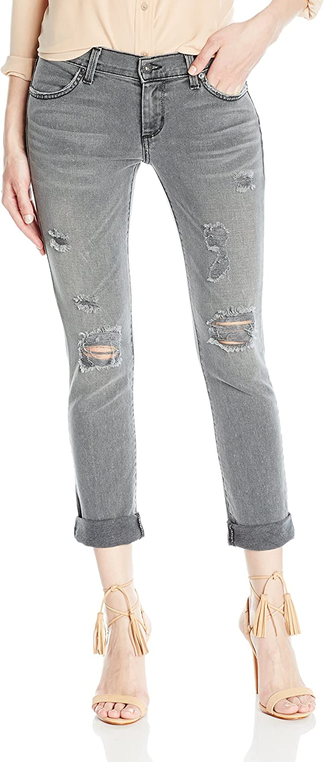 James Jeans Womens Neo Beau Slim Fit Boyfriend Jean with Distressing in Smoke Not Applicable