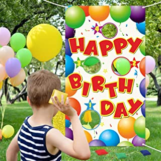 WATINC Happy Birthday Toss Game with 4 Bean Bags, Fun Carnival Birthday Party Game for Kids and Adults, Colorful Balloons ...