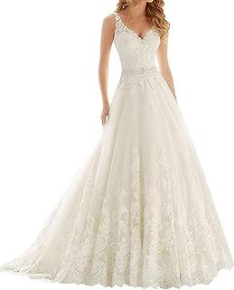 V Neck Lace Wedding Dress Beaded Bridal Dresses Appliques Wedding Gown