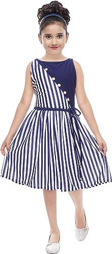 Girls Knee Length Dress GIRLSGF01 32 Blue 8 9 Years