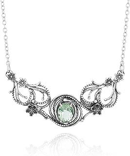 PZ Paz Creations 925 Sterling Silver Openwork Victorian Swirl-Design Statement Necklace for Women | 2.40ct Birthstone Gemstone | Hypoallergenic Fine Jewelry