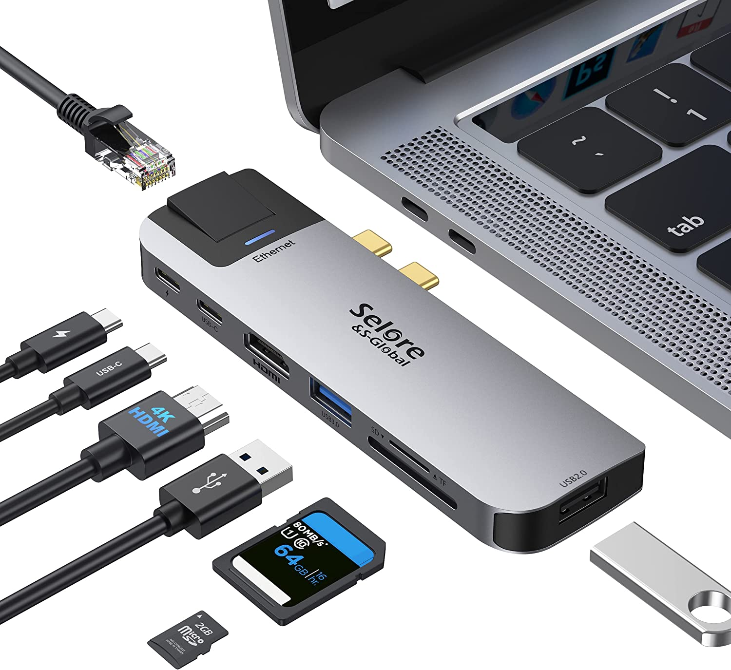 MacBook Pro USB C Adapter, USB C to HDMI Adapter for MacBook Pro/Air with 4K HDMI Port, Gigabit ethernet, 2 USB Port, TF/SD Card Reader, USB-C 100W PD and Thunderbolt 3 8-in-1 MacBook Docking Station