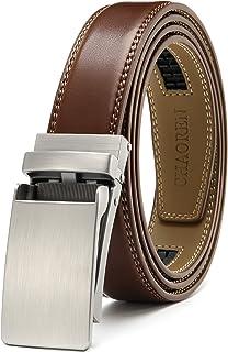 "CHAOREN Leather Ratchet Slide Belt 1 1/4"" Comfort Dress with Click Buckle - Trim to Exact fit - brown - 22/42"" Waist"