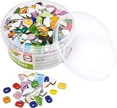 Rayher 14796999 Soft Glasmozaïekstenen, bonte mix, vorm polygonaal (onregelmatig), doos 500 g (ca. 515 stuks), glasmozaïek