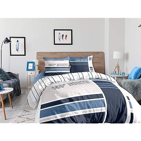 CALITEX Parure 3 pièces 240x220 cm Ocean Sailing, 100Pourcent_Coton, Bleu, 240_x_220_cm