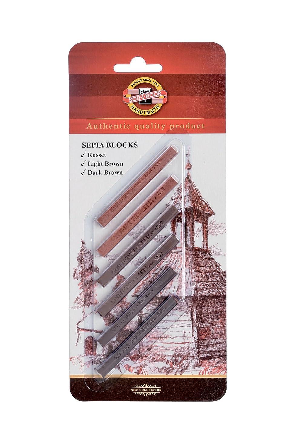 Koh-I-Noor FA4392 Gioconda Artist Sepia Blocks, 6-Pack