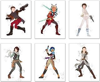 Watercolor Star Wars: Forces of Destiny Poster Prints - Set of 6 (8x10) Animated YouTube Wall Art Decor - Ahsoka Tano - Jyn Erso - Rey - Princess Leia Organa - Padme Amidala - Sabine Wren