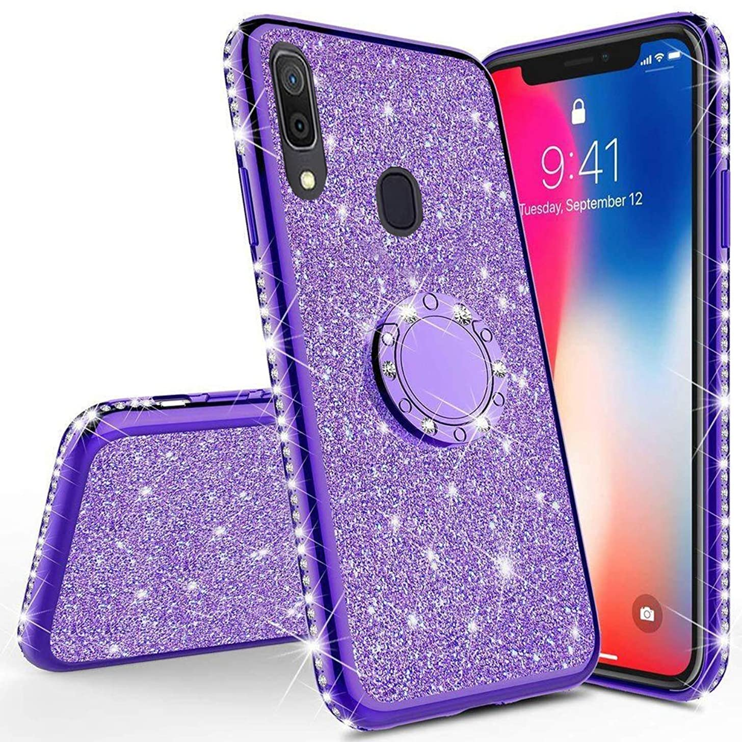 Herbests Compatible with Samsung Galaxy A40 Glitter Case with Ring Holder Kickstand for Women Girls Rhinestone Diamond Sparkle Bling Crystal TPU Rubber Silicone Cover Phone Case,Purple