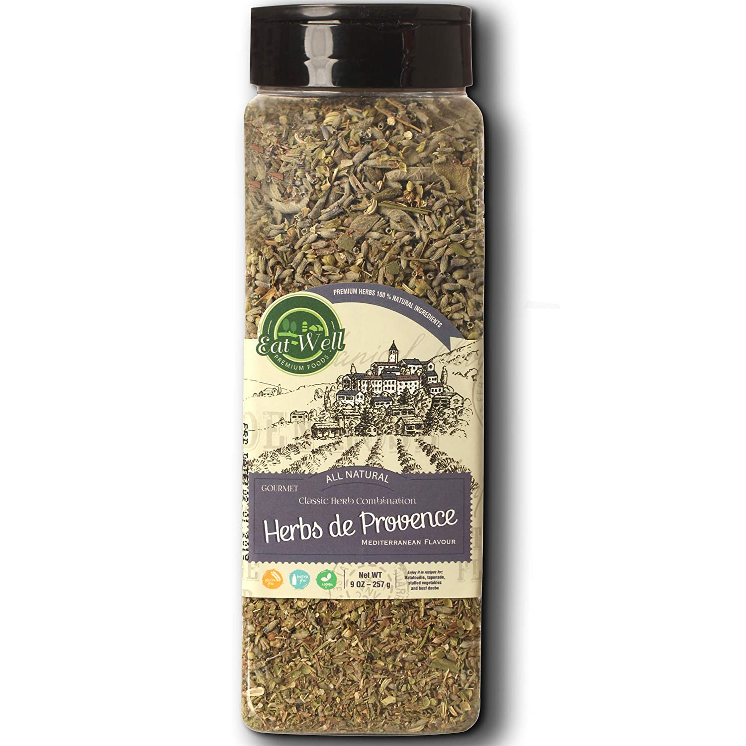 Eat Well Premium Foods - Herbs De Provence Seasoning 9 Ounce - 255 Gr Bulk Spice Quart Jar with Shaker Top, Seasoning - Spice Blend with Lavender, 100% Natural Blend
