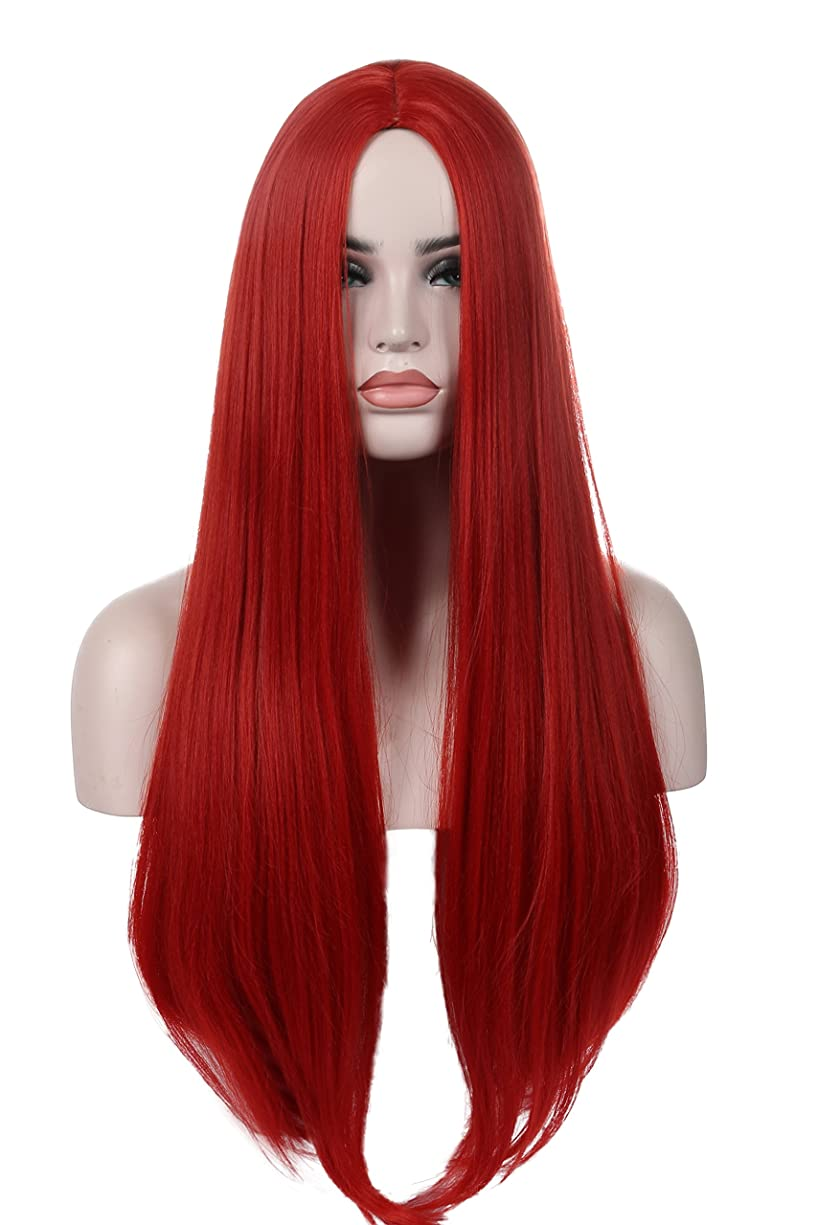 Kalyss Red Women's Wig Long Straight Centre Parting No Lace Front Synthetic Cosplay Costume Full Hair Wig for Women