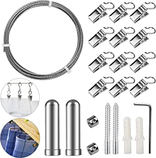 Pinowu Stainless Steel Curtain Drape Wire Rod Set with 12 Clips - Picture Hanging Wire Clothesline Wire Multi-Purpose Set Hang Photos, Notes, Art (10 Feet)
