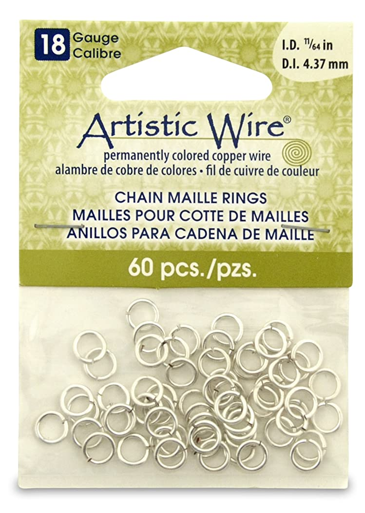 Artistic Wire 18-Gauge Non-Tarnish Silver Chain Maille Rings, 11/64-Inch Diameter, 60-Pieces