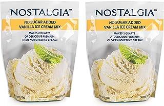 Nostalgia No Sugar Added Ice Cream Mix. Set of 2 - Vanilla Flawor, Each Pocket of 4 Oz Makes 2 Quarts of Delicious Premium...