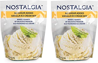 Nostalgia No Sugar Added Ice Cream Mix. Set of 2 - Vanilla Flawor, Each Pocket of 4 Oz Makes 2 Quarts of Delicious Premium Old Fashioned Ice Cream!