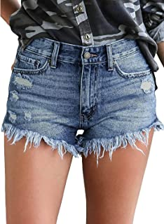 Women's Casual Denim Shorts Frayed Raw Hem Ripped Jeans...