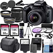 Canon EOS 4000D w/ 18-55mm F/3.5-5.6 III Lens Zoom Lens & Professional Accessory Bundle W/ 2X 32GB Memory Cards + Case & W...