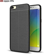 TiHen Oppo R9s Case, 360 Degree Protection [with Tempered Glass Screen Protector] Premium Leather Case Slim Fit Phone Cover Protective Skin Case for Oppo R9s- Black
