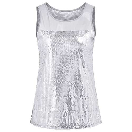 2a0faa1d571 Concep Women s Sparkly Sequin Tank Top Shimmer Embellished Sleeveless Party  Vest Shirt S-XXL