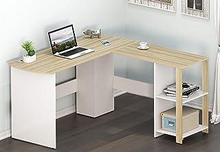 SHW L-Shaped Home Office Corner Desk Wood Top, Oak