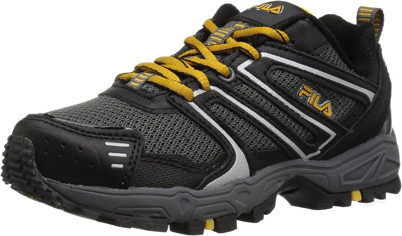 Fila Unisex-Kids Ascent 18 Running shoes, Castlerock Black gold Fusion, 1 Medium US Big Kid