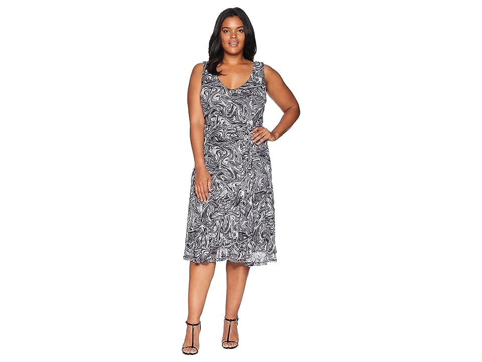 MICHAEL Michael Kors Plus Size Watermark Tank Flare Dress (White/Black) Women